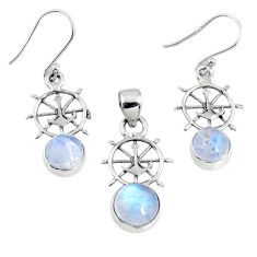 925 silver 6.03cts natural rainbow moonstone round pendant earrings set r70000