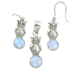925 silver 6.80cts natural rainbow moonstone round pendant earrings set r70005