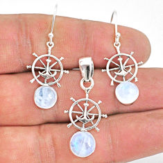 925 silver 5.75cts natural rainbow moonstone round pendant earrings set r70033