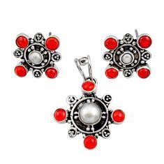 925 silver 9.62cts natural white pearl cornelian pendant earrings set d44417