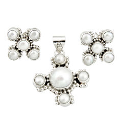 925 silver 17.52cts natural white pearl round shape pendant earrings set r20944