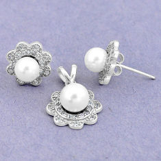 925 silver 7.03cts natural white pearl topaz pendant earrings set jewelry c25565