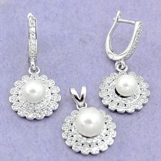 925 silver 9.93cts natural white pearl topaz round pendant earrings set c25576