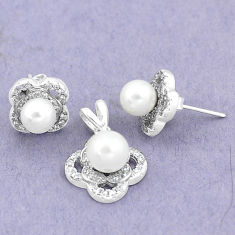 925 silver 7.04cts natural white pearl topaz round pendant earrings set c25595