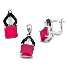 925 silver 12.83cts ruby (lab) topaz enamel pendant earrings set a87691 c24909
