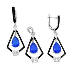 925 silver 12.04cts sapphire (lab) pear topaz pendant earrings set a87699 c24905