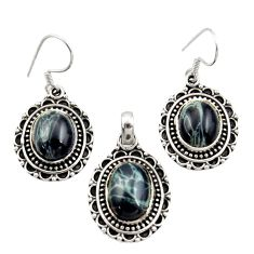 Clearance Sale- 925 sterling silver 14.92cts natural black vivianite pendant earrings set d44511