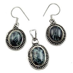 Clearance Sale- 925 sterling silver 12.31cts natural black vivianite pendant earrings set d44515