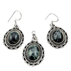 925 sterling silver 12.13cts natural black vivianite pendant earrings set r26580