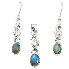 925 sterling silver 7.72cts natural blue labradorite pendant earrings set r76906