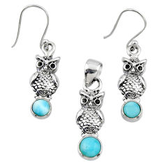 925 sterling silver 2.85cts natural blue larimar owl pendant earrings set r55780