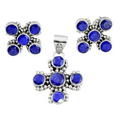925 sterling silver 13.22cts natural blue sapphire pendant earrings set r20924