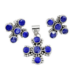 925 sterling silver 13.81cts natural blue sapphire pendant earrings set r20930