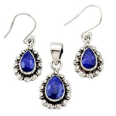 925 sterling silver 5.53cts natural blue sapphire pendant earrings set r27396