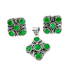 925 sterling silver 13.78cts natural green emerald pendant earrings set r20975