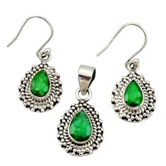 925 sterling silver 5.51cts natural green emerald pendant earrings set r27399