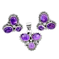 Clearance Sale- 925 sterling silver 10.70cts natural purple amethyst pendant earrings set d44478