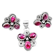 925 sterling silver 9.78cts natural red garnet pendant earrings set d44424