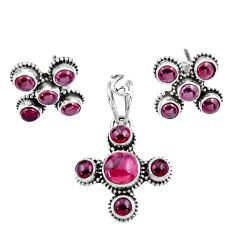 925 sterling silver 8.44cts natural red garnet round pendant earrings set d44448
