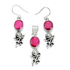 925 sterling silver 11.11cts natural red ruby angel pendant earrings set r20994