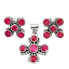 925 sterling silver 13.51cts natural red ruby round pendant earrings set r20936