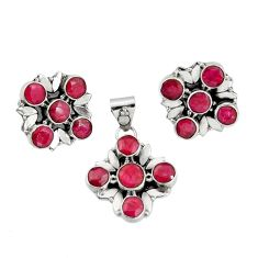 925 sterling silver 13.04cts natural red ruby round pendant earrings set r20939
