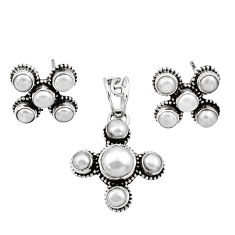 925 sterling silver 8.27cts natural white pearl pendant earrings set d44444