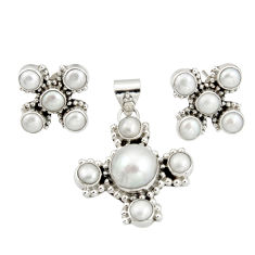 925 sterling silver 16.73cts natural white pearl pendant earrings set r20947