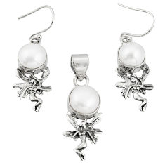 925 sterling silver 12.17cts natural white pearl pendant earrings set r21000
