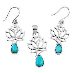 Arizona mohave turquoise 925 silver tree of life pendant earrings set r55739