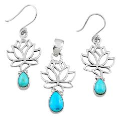 Arizona mohave turquoise 925 silver tree of life pendant earrings set r55751