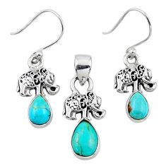 4.92cts arizona mohave turquoise silver elephant pendant earrings set r55750
