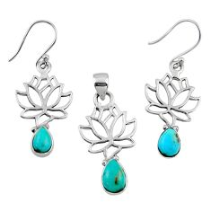 5.90cts arizona mohave turquoise silver tree of life pendant earrings set r55752
