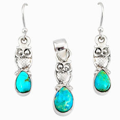 7.04cts blue arizona mohave turquoise 925 silver pendant earrings set r76908