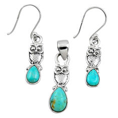 5.09cts blue arizona mohave turquoise silver owl pendant earrings set r55740
