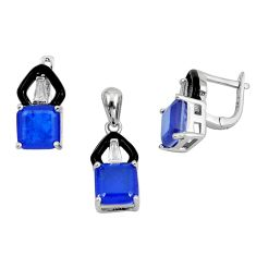 10.74cts blue sapphire (lab) topaz 925 silver pendant earrings set a87657 c24903
