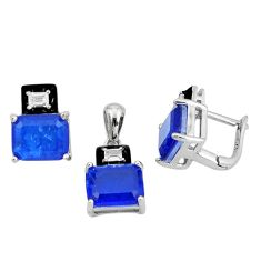 13.22cts blue sapphire (lab) topaz 925 silver pendant earrings set a87697 c24902