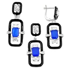 12.31cts blue sapphire (lab) topaz 925 silver pendant earrings set a87698 c24906