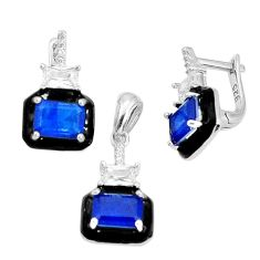 6.89cts blue sapphire (lab) topaz enamel 925 silver pendant earrings set c19402