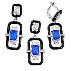 10.77cts blue sapphire (lab) topaz enamel silver pendant earrings set r73096