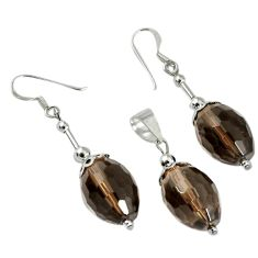 36.38cts brown smoky topaz 925 sterling silver pendant earrings set c21029