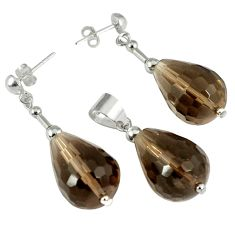 42.85cts brown smoky topaz 925 sterling silver pendant earrings set c21037