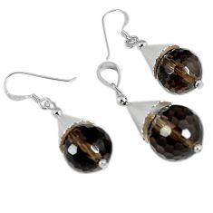 Brown smoky topaz 925 sterling silver pendant earrings set jewelry c21026