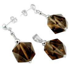 40.35cts brown smoky topaz beads sterling silver pendant earrings set c21033