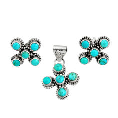 8.23cts green arizona mohave turquoise 925 silver pendant earrings set r20968