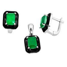 5.42cts green emerald (lab) enamel 925 silver pendant earrings set a87739 c24916
