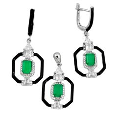 11.82cts green emerald (lab) topaz 925 silver pendant earrings set a87644 c24919