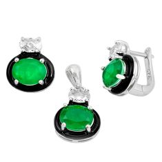 12.63cts green emerald (lab) topaz 925 silver pendant earrings set a87734 c24917