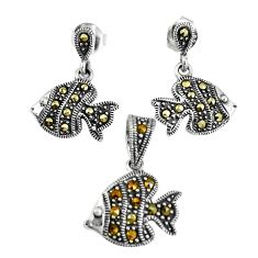 7.25gms marcasite 925 sterling silver fish pendant earrings set jewelry c20911