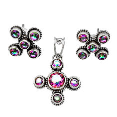 Clearance Sale- 8.02cts multi color rainbow topaz 925 silver pendant earrings set d44418